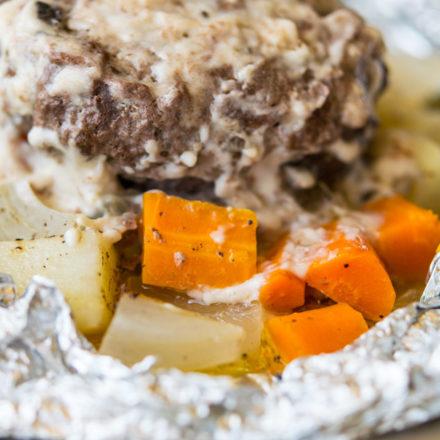 Hobo Dinner in unwrapped foil packet