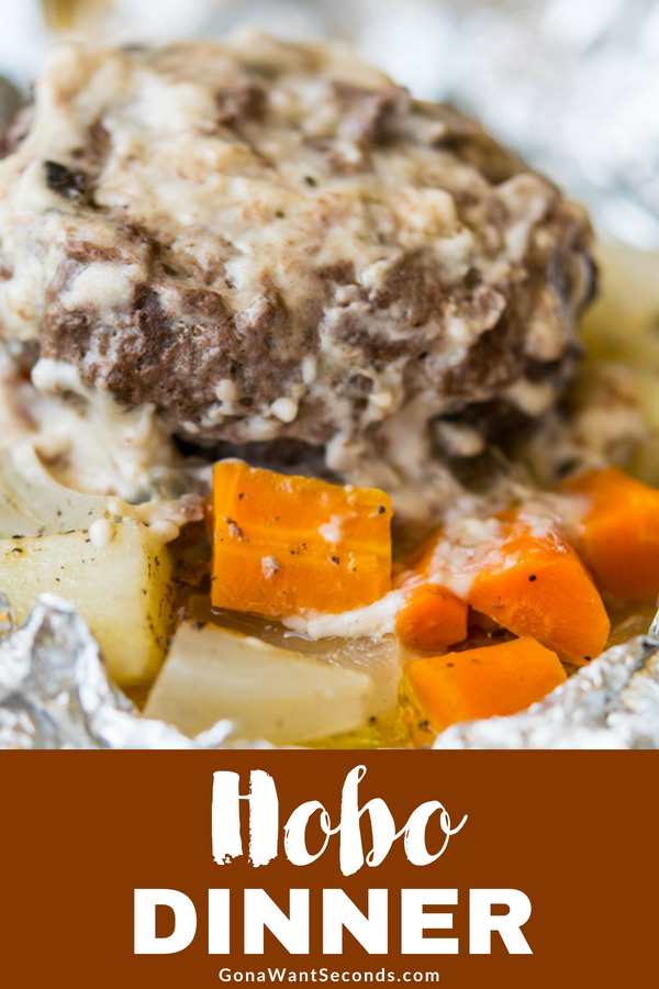 Our hobo dinner is the ultimate comfort food. A perfect summer meal made over the campfire (or in the oven) Wonderful in fall as the nights get cooler. #Hobo #Dinner #Oven #Camping #Hamburger #FoilPackets #Recipes #Easy #Beef #Healthy #ForKids #Ideas #Party #Best #WithCreamOfMushrooms #Burger #Dinner #Baked #RussetPotatoes #Carrots #Packs