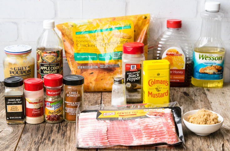 Prepared ingredients for Bacon Wrapped Chicken
