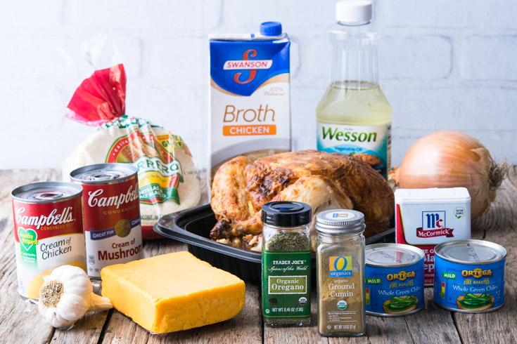 Prepared Ingredients for Chicken Tortilla Casserole