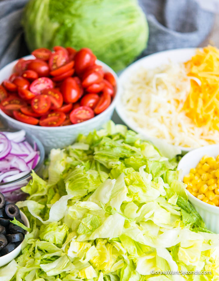 Prepared chopped ingredients for Dorito Taco Salad