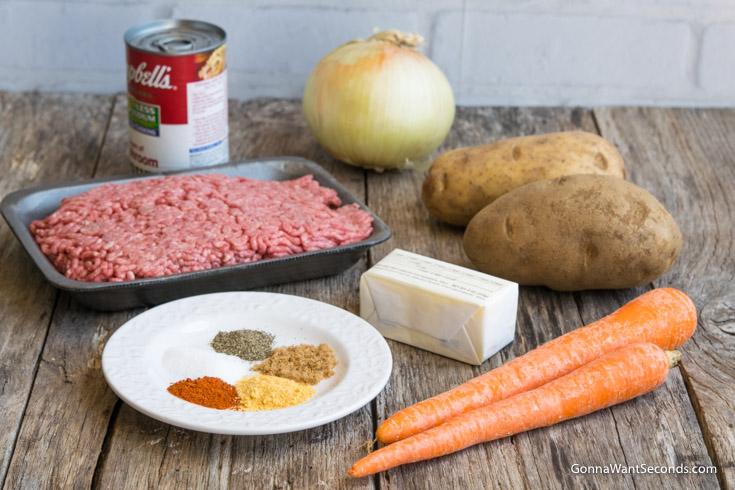 Prepared ingredients for Hobo Dinner