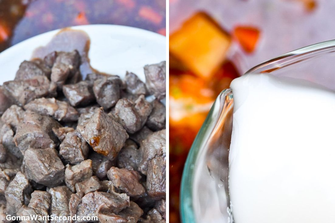 How to make Instant pot beef stew, adding back beef cubes and constarch to the pot