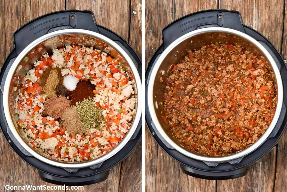 How to make Instant pot turkey chili, adding spices to the sauted ingredients