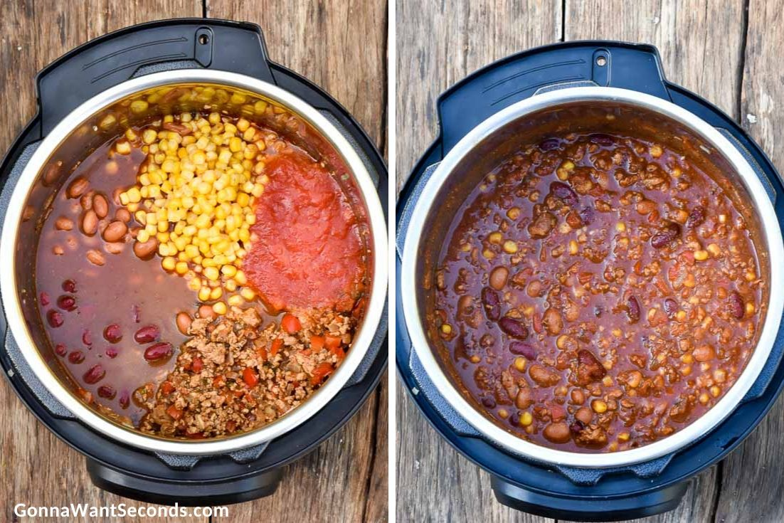 How to make Instant pot turkey chili, adding corn, beans, and other ingredients in the instant pot