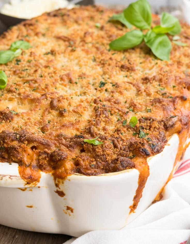 Olive Garden Five Cheese Ziti Al Forno in a casserole