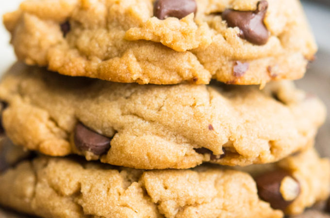 Peanut Butter Chocolate Chip Cookies stack on top of each other