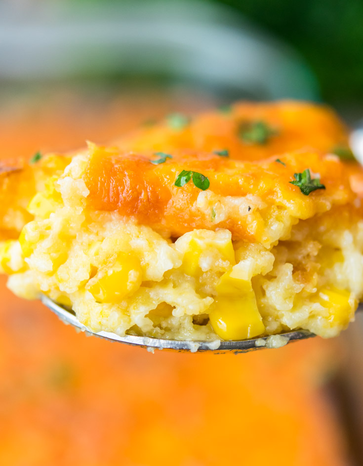 A spoonful of Paula Deen Corn Casserole