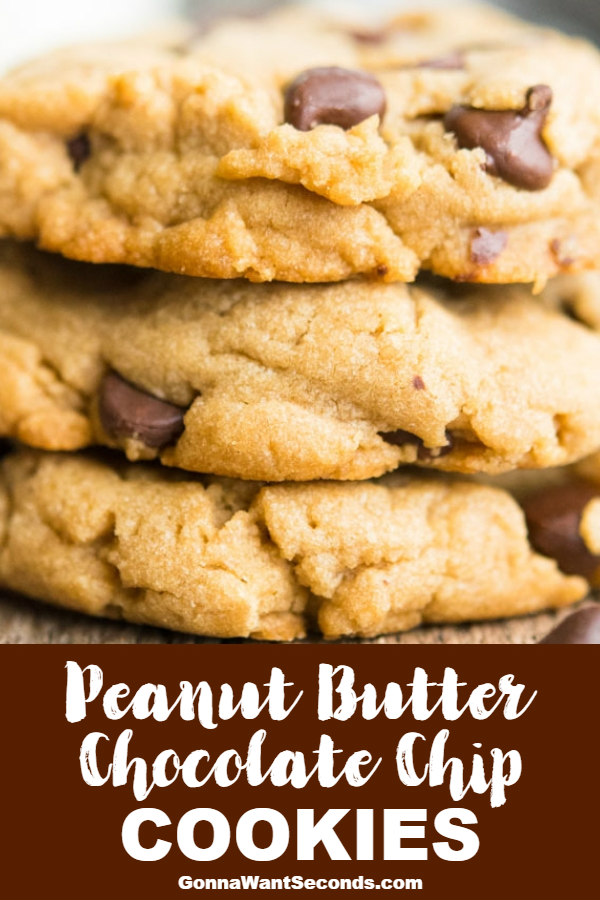 Our old-fashioned, thick, chewy peanut butter chocolate chip cookies have an amazing texture and taste. Easy to make, stay soft for days - a top 10 Fav! #PeanutButterChocolateChipCookies #ChocolateChipCookies