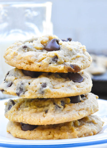 Peanut butter oatmeal chocolate chip cookies stack on top of each other