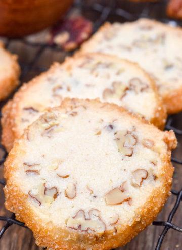 Pecan Shortbread Cookies on a cooling rack