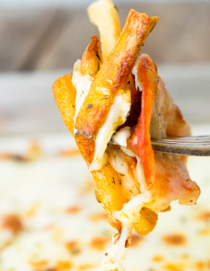Pizza Fries on a fork