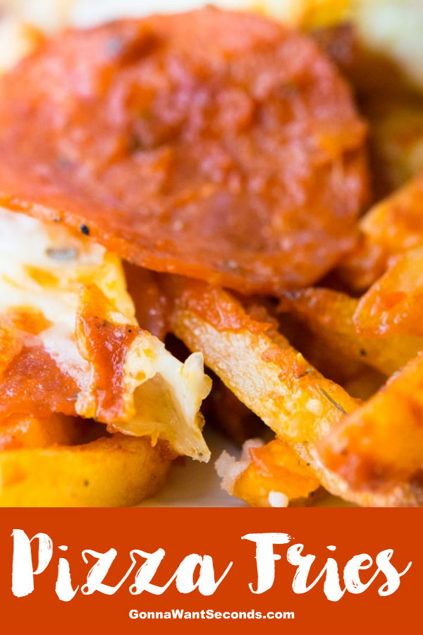 Our Pizza Fries are piled high with loads of delicious seasoning and mozzarella cheese. Possibly the best Football Sunday dish to ever exist! #PizzaFries #Fries