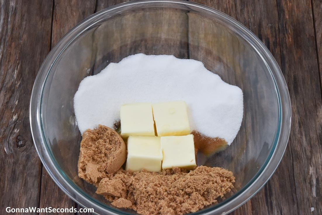 how to make Toll House cookies, ingredients in a mixing bowl