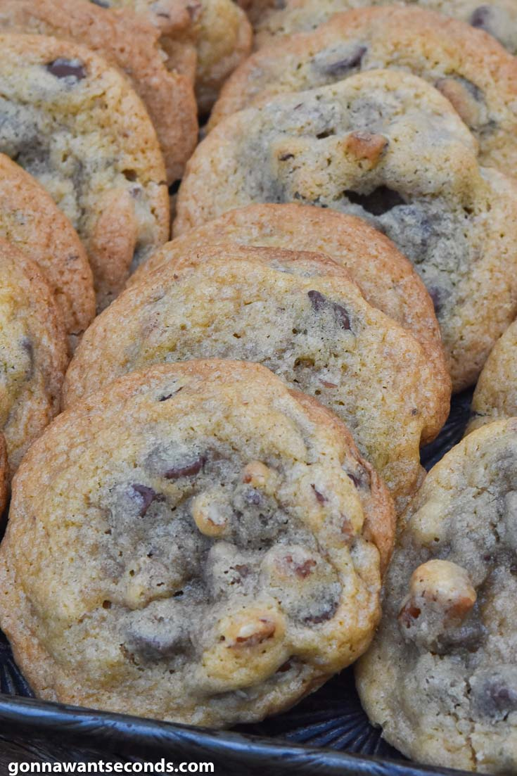 Toll House cookies arranged in a baking sheet