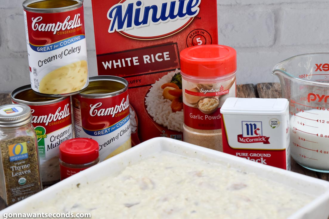 How to make chicken and rice casserole, prepared ingredients
