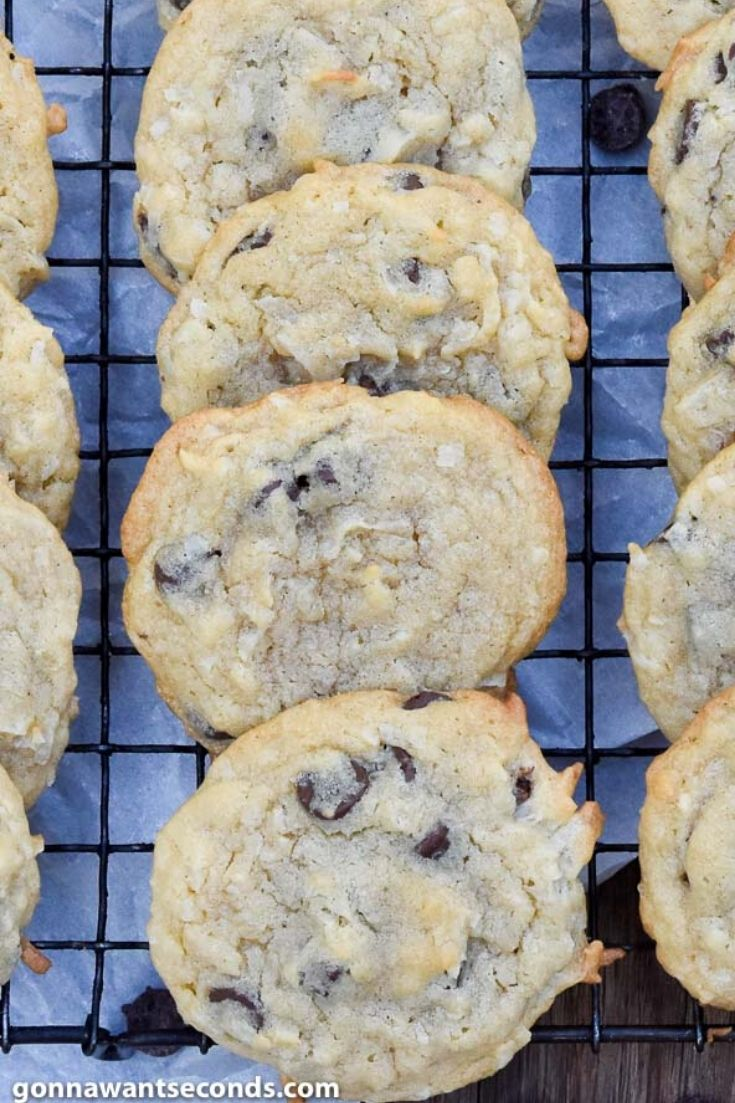 coconut chocolate chip cookies on a cooling rack