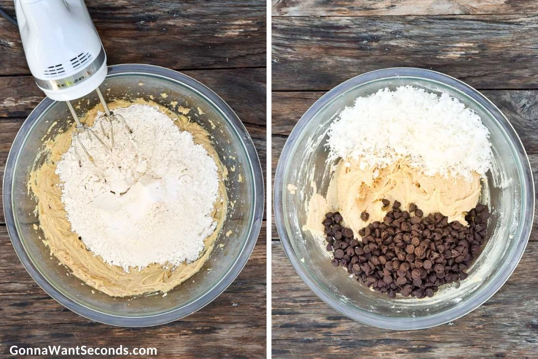 how to make coconut chocolate chip cookies, mixing wet and dry ingredients