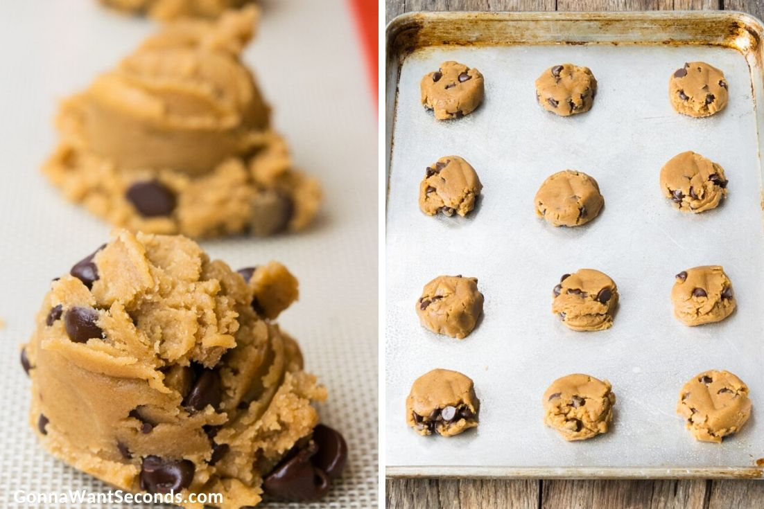 how to make peanut butter chocolate chip cookies, cookie doughs on a baking sheet
