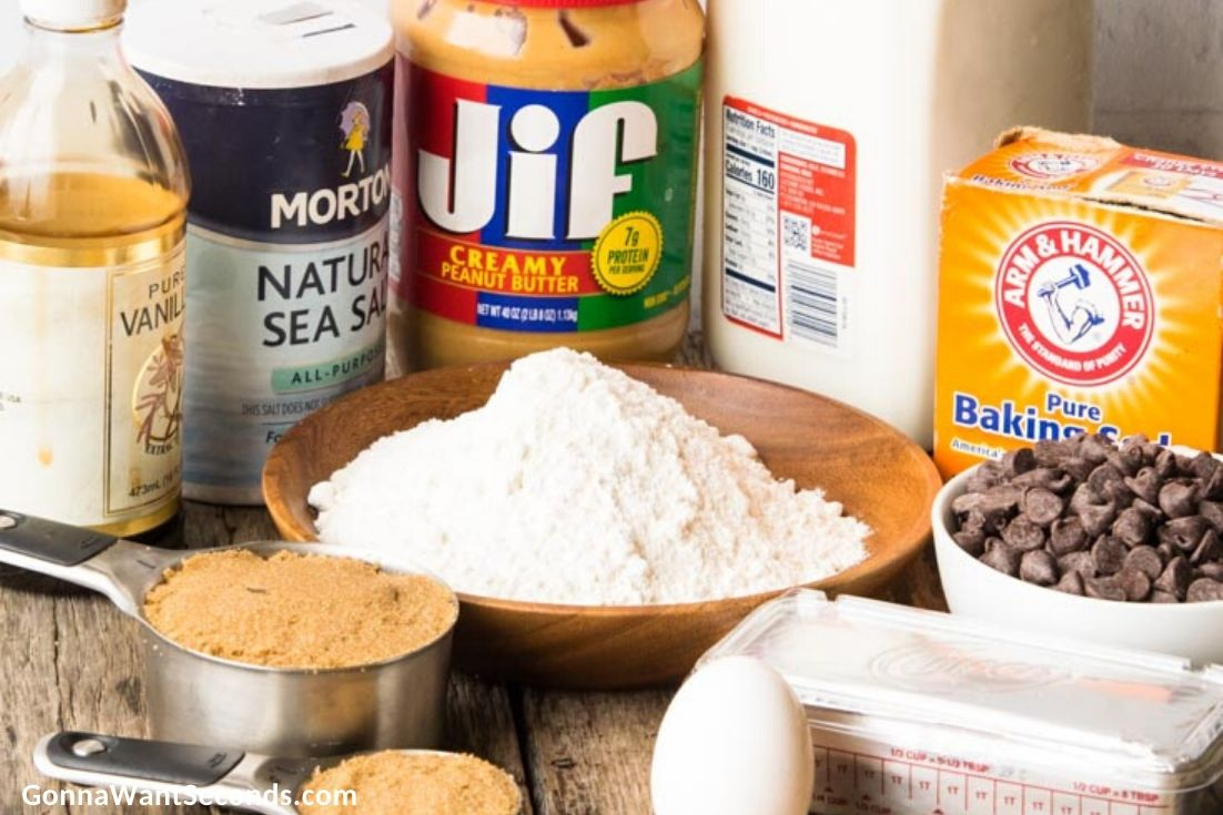 how to make peanut butter chocolate chip cookies, prepared ingredients