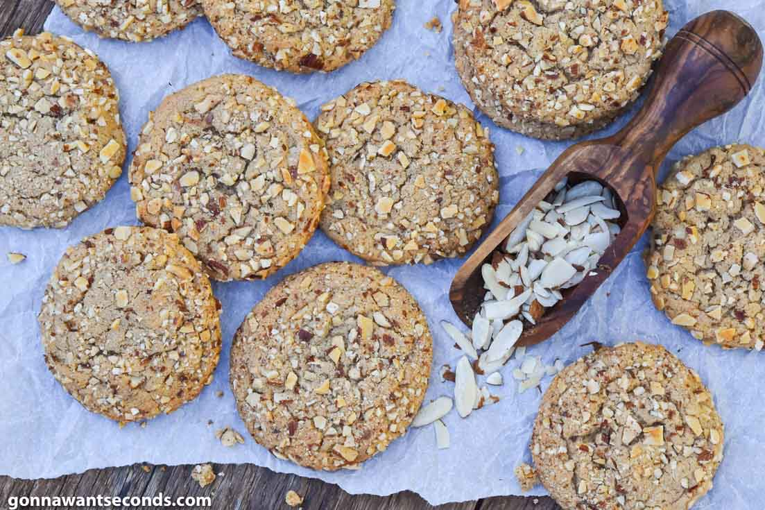Almond Butter Cookies on a wooden table