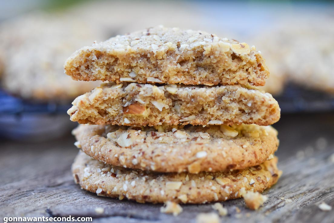 Almond Butter Cookies stack on top of each other