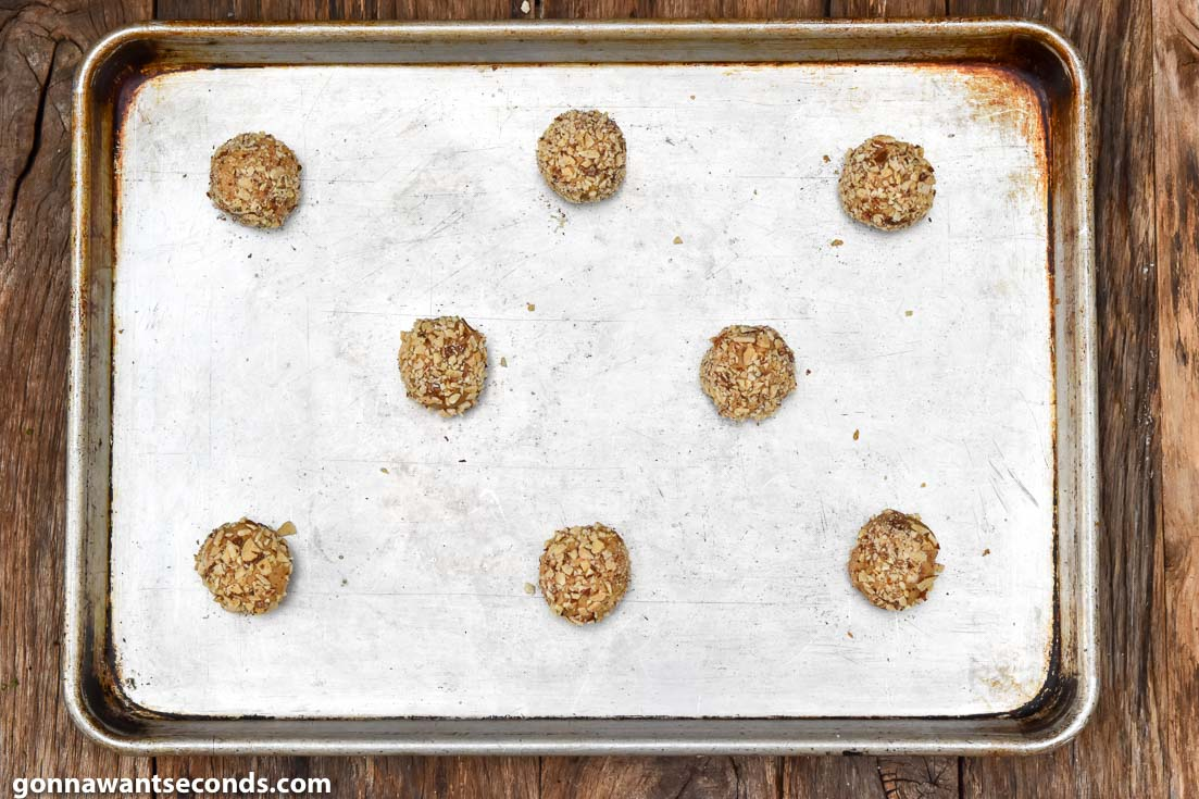 How to make Almond Butter Cookies, cookie dough on a baking sheet
