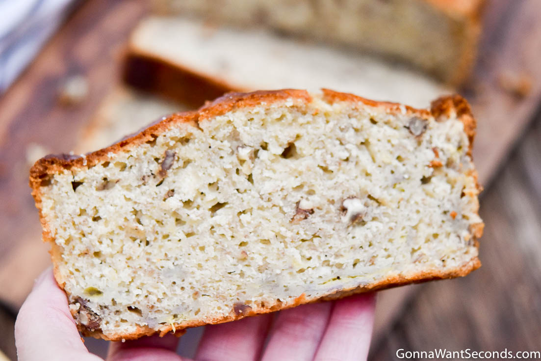 Bisquick Banana Bread on palm of hands