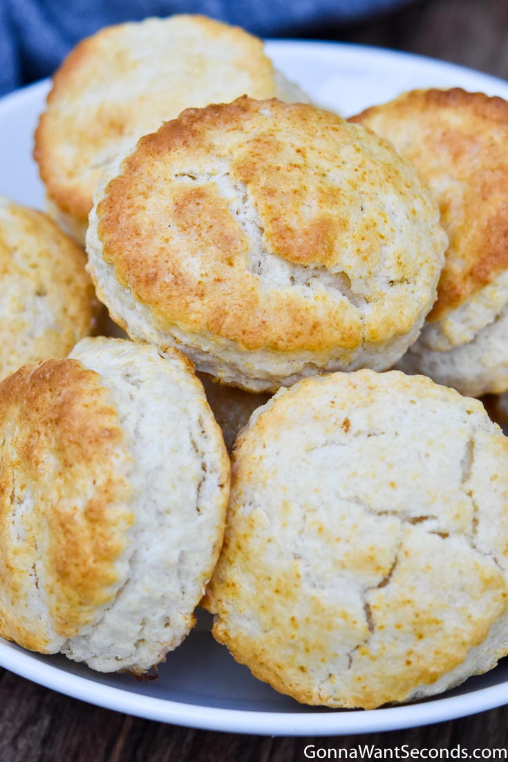 Bisquick biscuit recipe in a shallow bowl