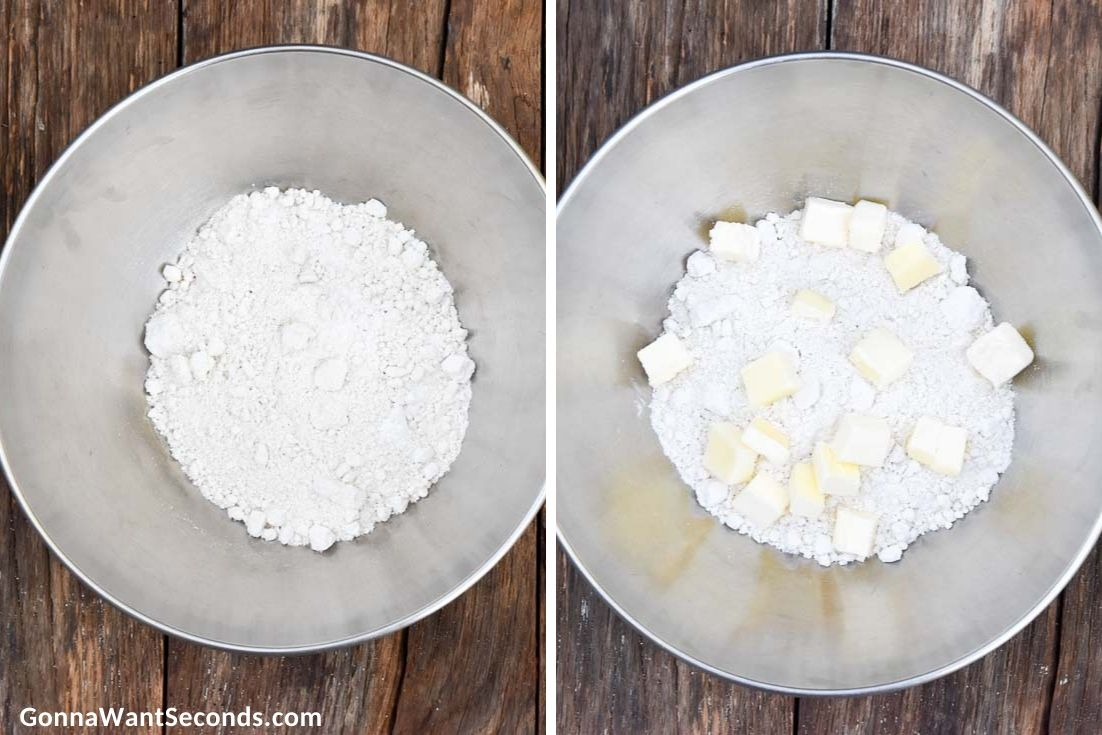 How To Make Bisquick biscuit recipe, adding cubed butter in flour mixture