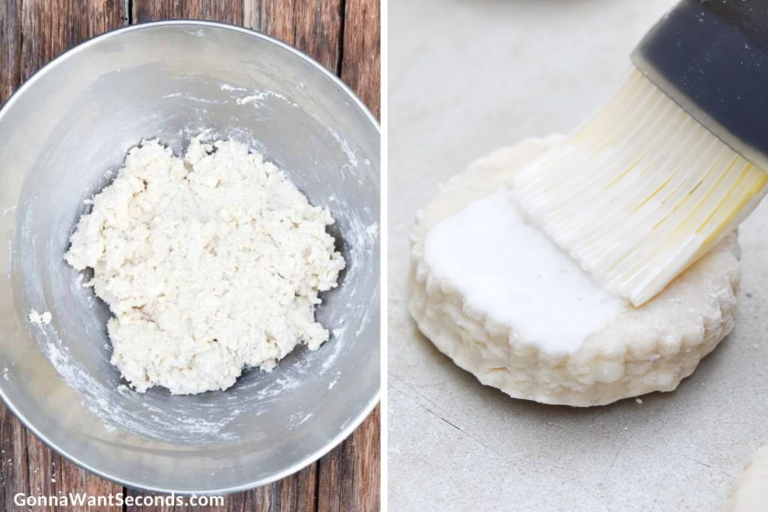 How To Make Bisquick biscuit recipe, adding milk and mixing flour, brushing the top of raw biscuit with heavy cream