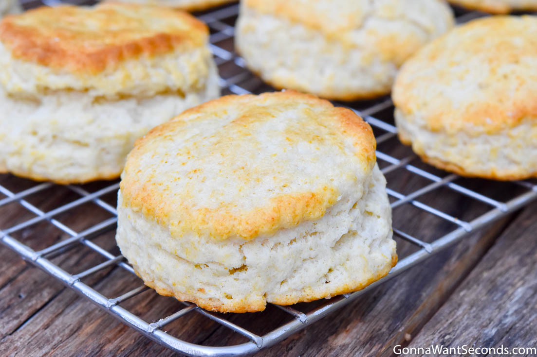 Bisquick biscuit recipe on a cooling rack