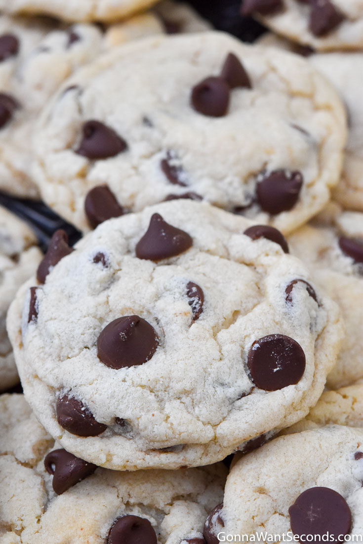 Bisquick chocolate chip cookies on a baking sheet