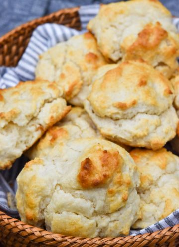 Bisquick drop biscuits in a basket