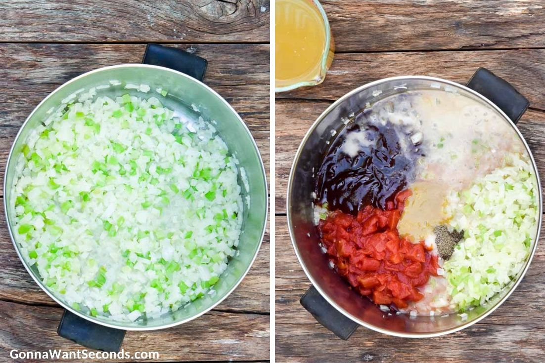 How to make Brunswick stew, sauteing and adding ingredients