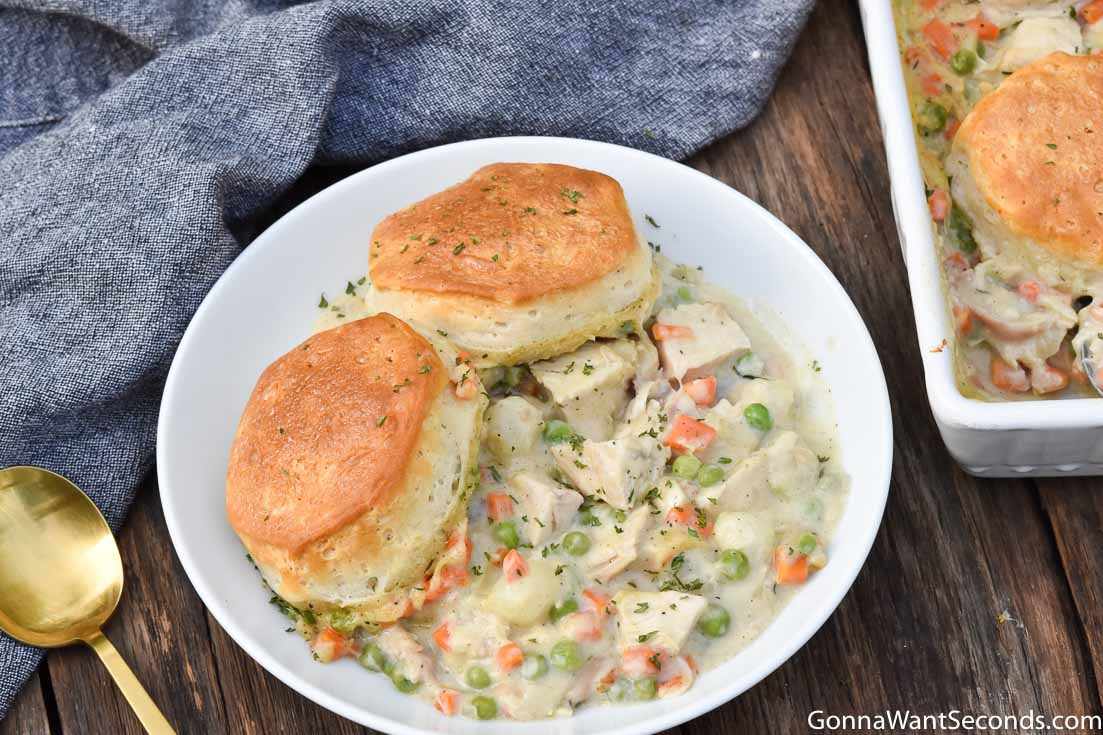 Chicken Pot Pie With Biscuits on a plate