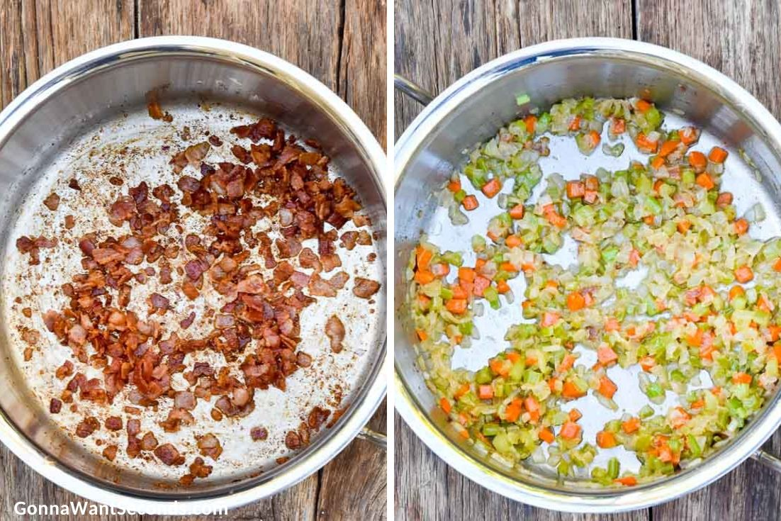 How to make Chicken Potato Soup, cooking bacon and sauteing veggies