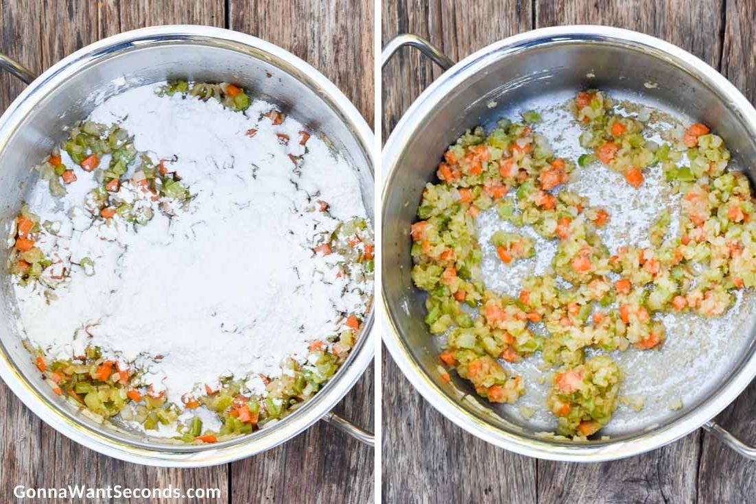 How to make Chicken Potato Soup, sauteing veggies and adding flour