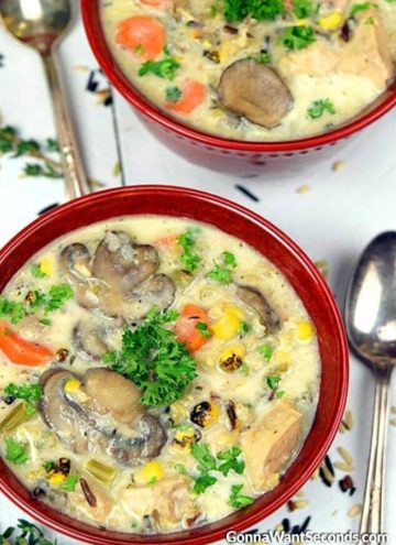 Two bowls of Creamy chicken and wild rice soup