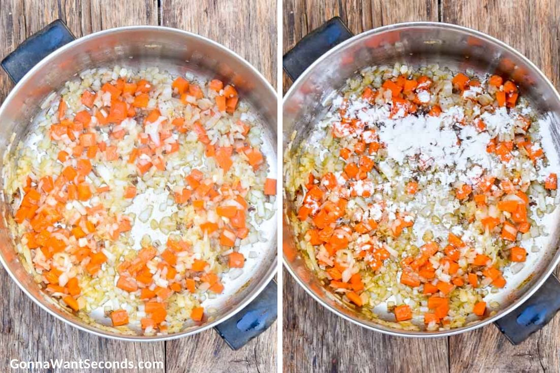 How to make Hamburger Stew, sauteing veggies and adding flour