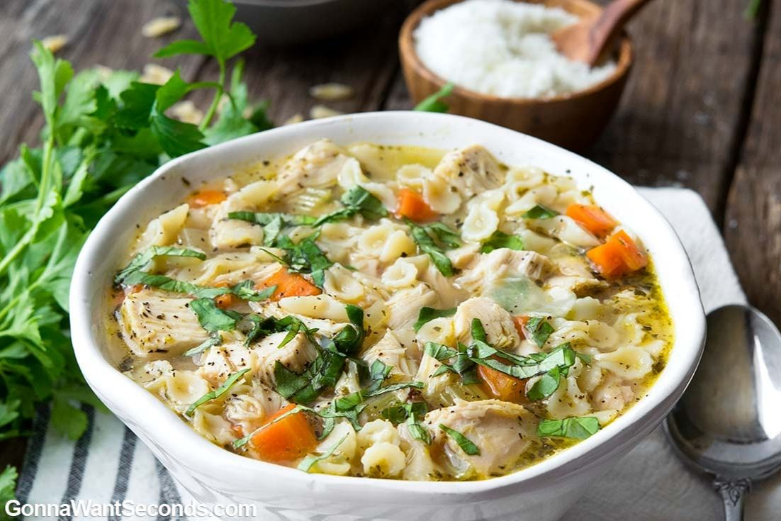 Italian chicken soup in a bowl