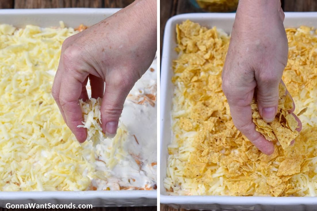 How to make Mexican chicken casserole, layering cheese and tortilla chips