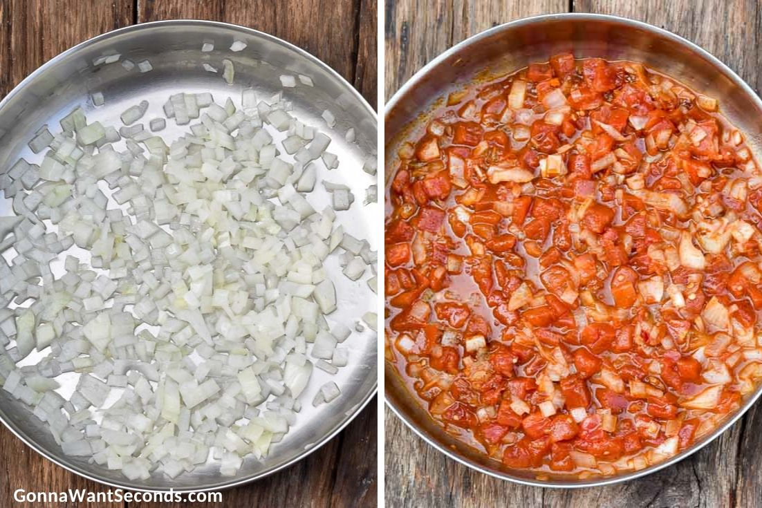 How to make Sour cream chicken enchiladas, sauteing the ingredients for the filling
