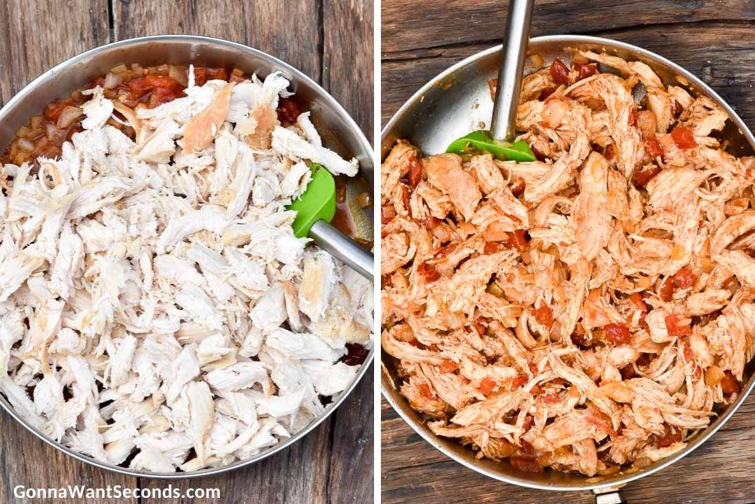 How to make Sour cream chicken enchiladas, adding shredded chicken to the pot