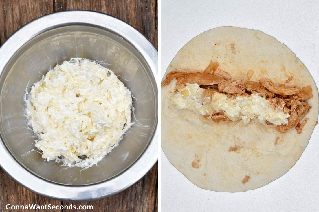 How to make Sour cream chicken enchiladas, mixing sauce ingredients and filling the tortillas