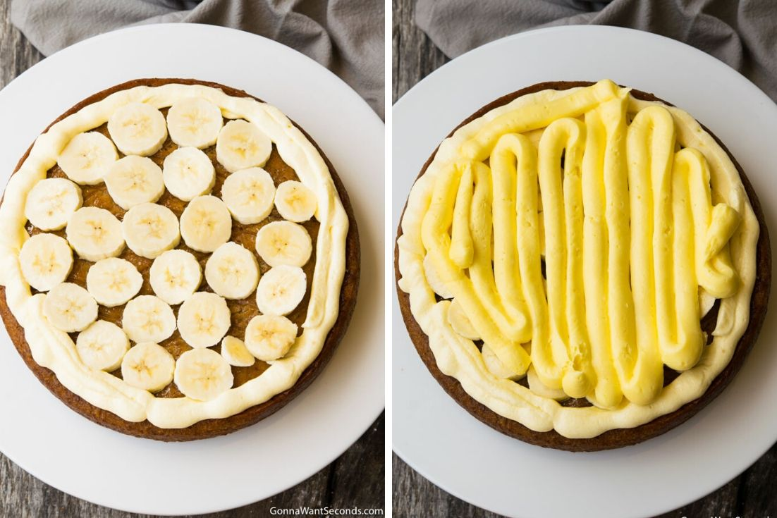 How to make Banana Pudding Cake, adding banana and pudding mixture