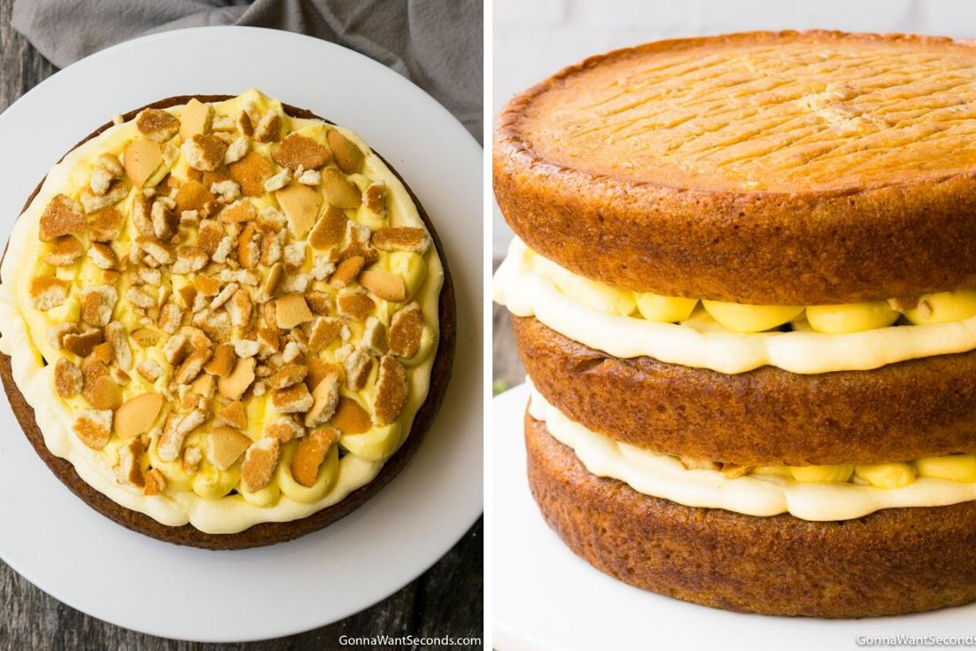 How to make Banana Pudding Cake, adding wafer and layering the cake