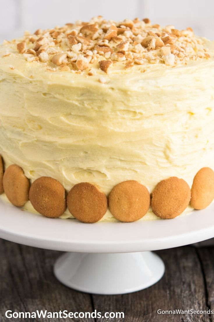 Banana Pudding Cake on a cake stand