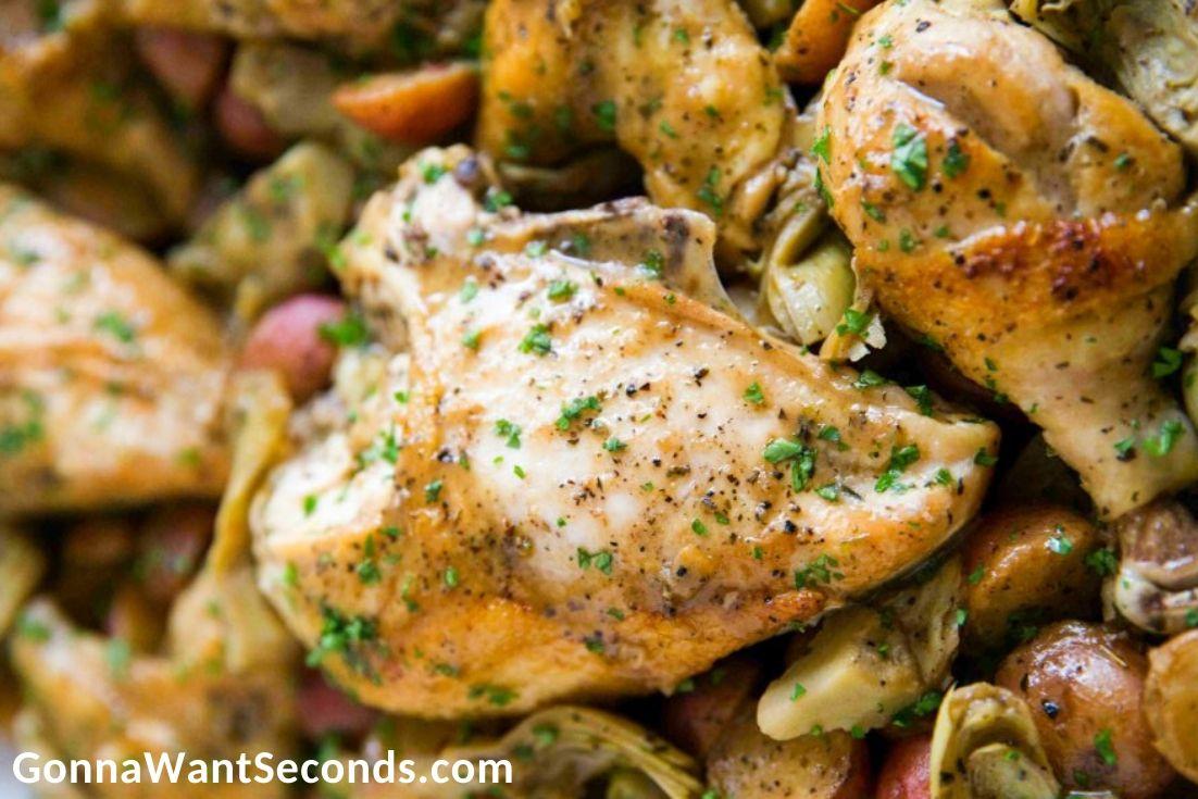 Chicken Vesuvio, close up