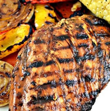 Grilled Chicken Marinade with grilled veggies on the side